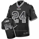 Camiseta NFL Limited Hombre Las Vegas Raiders 24 Marshawn Lynch Negro Stitched Drift Fashion