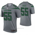 Camiseta NFL Legend New York Jets 55 Ryan Kalil Inverted Gris