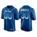 Camiseta NFL Hombre Los Angeles Rams 30 Todd Gurley Ii Azul NFC 2018 Pro Bowl