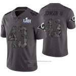 Camiseta NFL Limited Hombre Los Angles Rams John Johnson Gris Super Bowl LIII