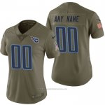 Camiseta NFL Limited Mujer Tennessee Titans Personalizada 2017 Salute To Service Verde