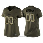 Camiseta NFL Limited Mujer Green Bay Packers Personalizada Salute To Service Verde