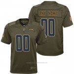 Camiseta NFL Limited Nino Los Angeles Chargers Personalizada Salute To Service Verde