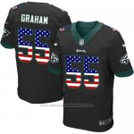 Camiseta NFL Elite Hombre Philadelphia Eagles 55 Brandon Graham Alternate USA Flag Fashion Negro