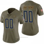 Camiseta NFL Limited Mujer Los Angeles Chargers Personalizada 2017 Salute To Service Verde