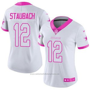 Camiseta NFL Limited Mujer Dallas Cowboys 12 Roger Staubach Blanco Rosa Stitched Rush Fashion