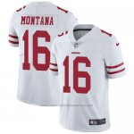 Camiseta NFL Limited Hombre San Francisco 49ers 16 Joe Montana Blanco Stitched Vapor Untouchable