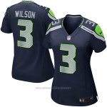 Camiseta NFL Limited Mujer Seattle Seahawks 3 Wilson Azul Replica Game