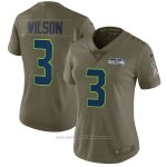 Camiseta NFL Limited Mujer Seattle Seahawks 3 Wilson 2017 Salute To Service Verde