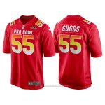 Camiseta NFL Hombre Baltimore Ravens 55 Terrell Suggs Rojo AFC 2018 Pro Bowl