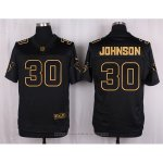 Camiseta Houston Texans Johnson Negro Nike Elite Pro Line Gold NFL Hombre