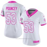 Camiseta NFL Limited Mujer Pittsburgh Steelers 53 Maurkice Pouncey Blanco Rosa Stitched Rush Fashion