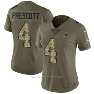 Camiseta NFL Limited Mujer Dallas Cowboys 4 Dak Prescott Verde Stitched 2017 Salute To Service