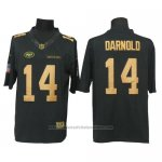 Camiseta NFL Limited Gold Hombre New York Jets 14 Sam Darnold Anthracite Negro