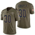 Camiseta NFL Limited Hombre St Louis Rams Todd 30 Gurley II 2017 Salute To Service Verde
