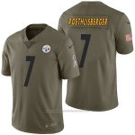 Camiseta NFL Limited Hombre Pittsburgh Steelers 7 Ben Roethlisberger 2017 Salute To Service Verde