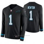 Camiseta NFL Hombre Carolina Panthers Cam Newton Negro Therma Manga Larga
