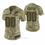 Camiseta NFL Limited Mujer Philadelphia Eagles Personalizada 2018 Salute To Service Verde