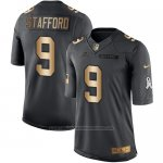 Camiseta Detroit Lions Stafford Negro 2016 Nike Gold Anthracite Salute To Service NFL Hombre