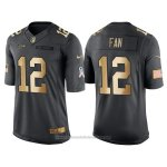Camiseta Seattle Seahawks Fan Negro 2016 Nike Gold Anthracite Salute To Service NFL Hombre