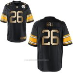 Camiseta Pittsburgh Steelers Bell Negro Nike Gold Game NFL Hombre
