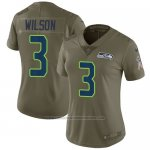 Camiseta NFL Limited Mujer Seattle Seahawks 3 Russell Wilson Verde Stitched 2017 Salute To Service