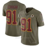 Camiseta NFL Limited Nino Washington Redskins 91 Kerrigan 2017 Salute To Service Verde