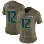 Camiseta NFL Limited Mujer Seattle Seahawks 12 Fan 2017 Salute To Service Verde