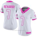 Camiseta NFL Limited Mujer Pittsburgh Steelers 7 Ben Roethlisberger Blanco Rosa Stitched Rush Fashion
