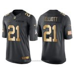 Camiseta Dallas Cowboys Elliott Negro 2016 Nike Gold Anthracite Salute To Service NFL Hombre