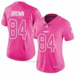 Camiseta NFL Limited Mujer 84 Brown Pittsburgh Steelers Rosa