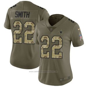 Camiseta NFL Limited Mujer Dallas Cowboys 22 Emmitt Smith Verde Stitched 2017 Salute To Service