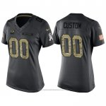 Camiseta NFL Limited Mujer Green Bay Packers Personalizada 2016 Salute To Service Negro