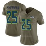 Camiseta NFL Limited Mujer Seattle Seahawks 25 Richard Sherman Verde Stitched 2017 Salute To Service