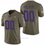 Camiseta NFL Limited Minnesota Vikings Personalizada 2017 Salute To Service Verde