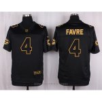 Camiseta Green Bay Packers Favre Negro Nike Elite Pro Line Gold NFL Hombre
