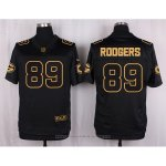 Camiseta Green Bay Packers Rodgers Negro Nike Elite Pro Line Gold NFL Hombre