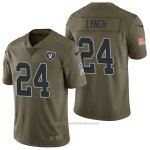 Camiseta NFL Limited Hombre Las Vegas Raiders 24 Marshawn Lynch 2017 Salute To Service Verde