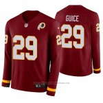 Camiseta NFL Hombre Washington Redskins Derrius Guice Burgundy Therma Manga Larga