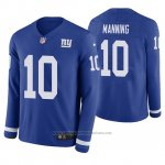 Camiseta NFL Hombre New York Giants Eli Manning Azul Therma Manga Larga