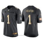 Camiseta Carolina Panthers Newton Negro 2016 Nike Gold Anthracite Salute To Service NFL Hombre