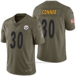 Camiseta NFL Limited Hombre Pittsburgh Steelers 30 James Conner 2017 Salute To Service Verde
