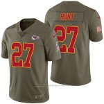 Camiseta NFL Limited Hombre Kansas City Chiefs 27 Kareem Hunt 2017 Salute To Service Verde