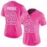 Camiseta NFL Limited Mujer Seattle Seahawks 22 C J Prosise Rosa Stitched Rush Fashion