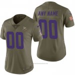 Camiseta NFL Limited Mujer Minnesota Vikings Personalizada 2017 Salute To Service Verde